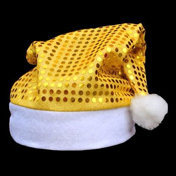 GlowFactory Pailletten-Nikolausmütze gold / Weihnachtsmütze mit goldenen Pailletten