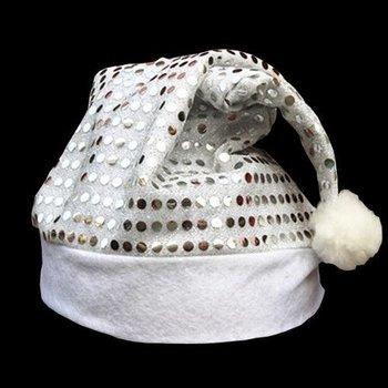 GlowFactory Pailletten-Nikolausmütze silber / Weihnachtsmütze mit silbernen Pailletten
