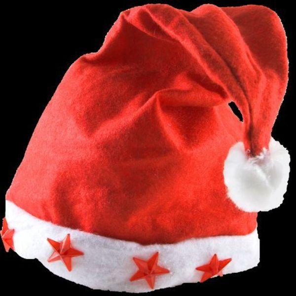 Blinkende Nikolausmütze / Weihnachtsmütze mit Licht (Bulk)