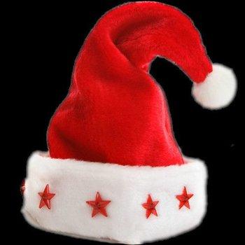 GlowFactory Leuchtende Nikolausmütze Deluxe / Luxus-Weihnachtsmütze mit Licht