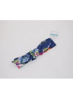 heppiedie heppiedi  knoophaarband blauw bloemenprint
