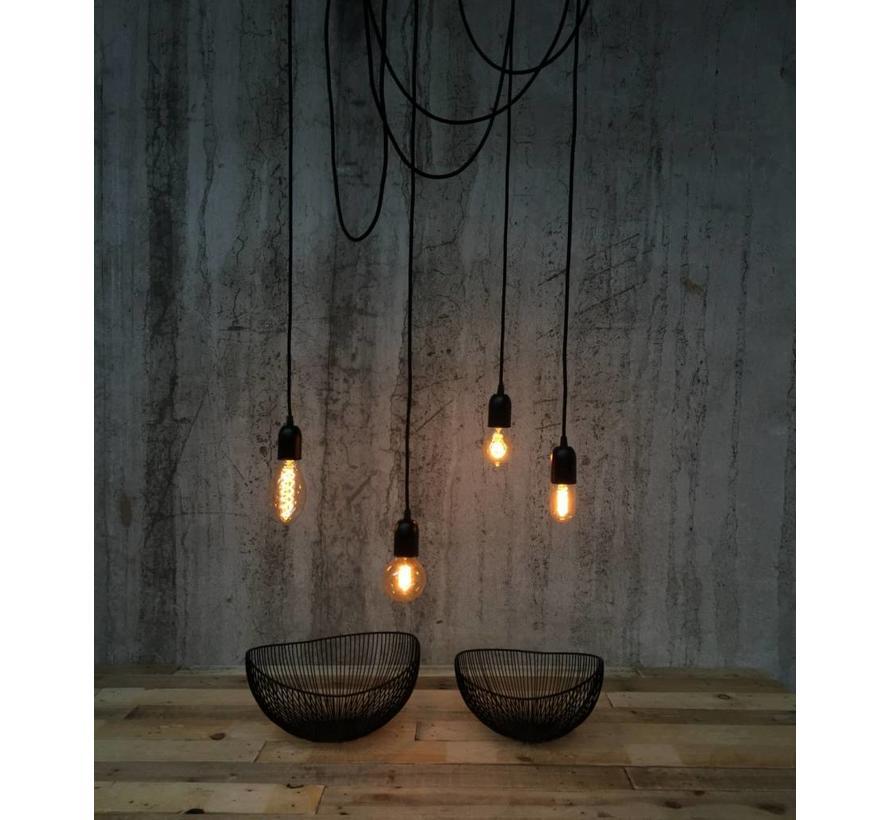 Metal Lamp Holder 'Soren' black E27