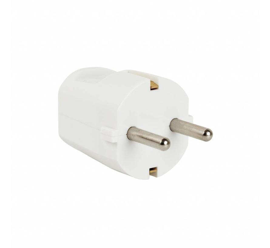 Plug round white (grounded)