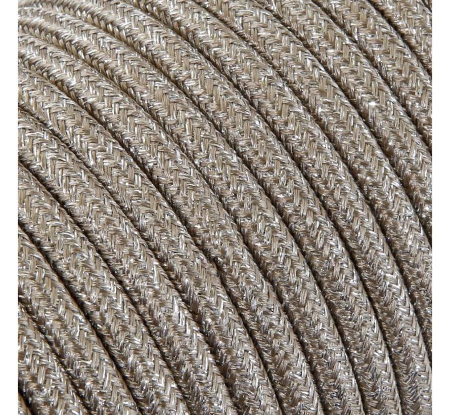 Strijkijzersnoer Lichtbruin (glitter) - rond, effen stof