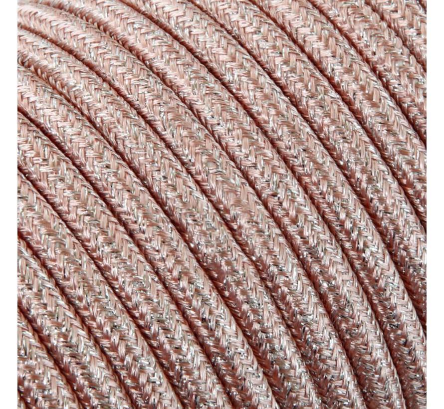 Funkeln Textilkabel Rosa (Glitzer Effekt) - rund, einfarbiger Stoff