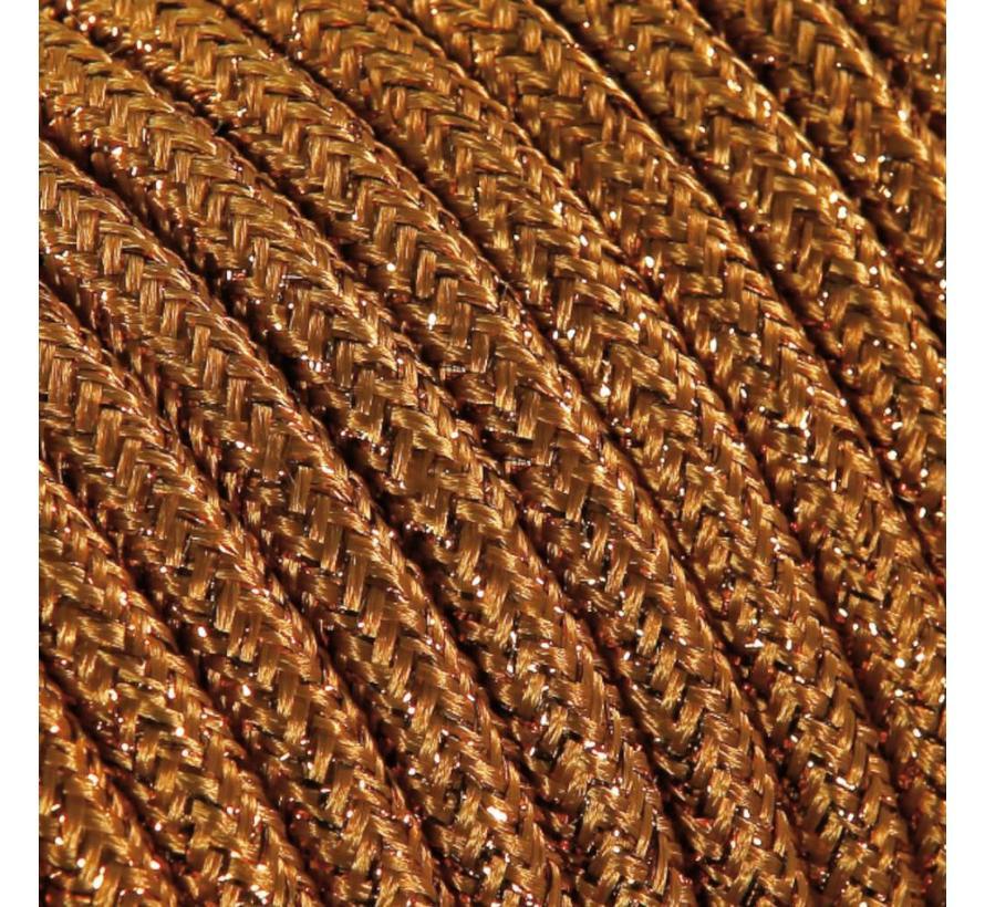 Funkeln Textilkabel Kupfer (Glitzer Effekt) - rund, einfarbiger Stoff