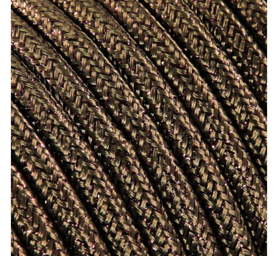 Funkeln Textilkabel Braun (Glitzer Effekt) - rund, einfarbiger Stoff