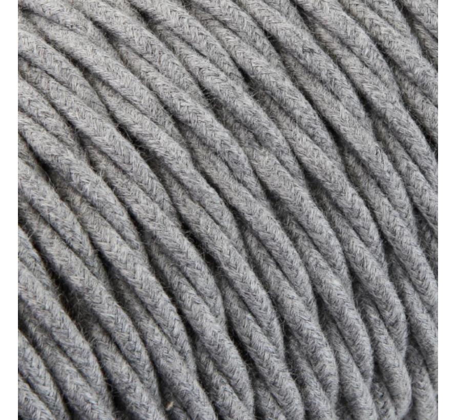 Textilkabel Grau - verdrillt/geflochten, Leinenstoff