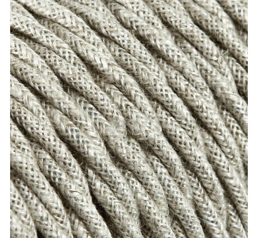 Textilkabel Beige - verdrillt/geflochten, Leinenstoff
