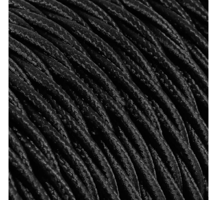 Strijkijzersnoer Zwart - gedraaid, effen stof