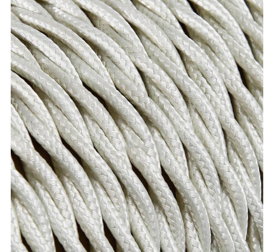 Textilkabel Elfenbein - verdrillt/geflochten, einfarbiger Stoff