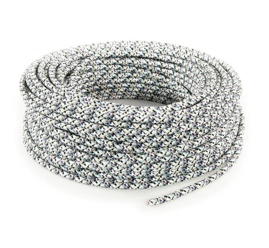 Fabric Cord White - round - pixelated pattern