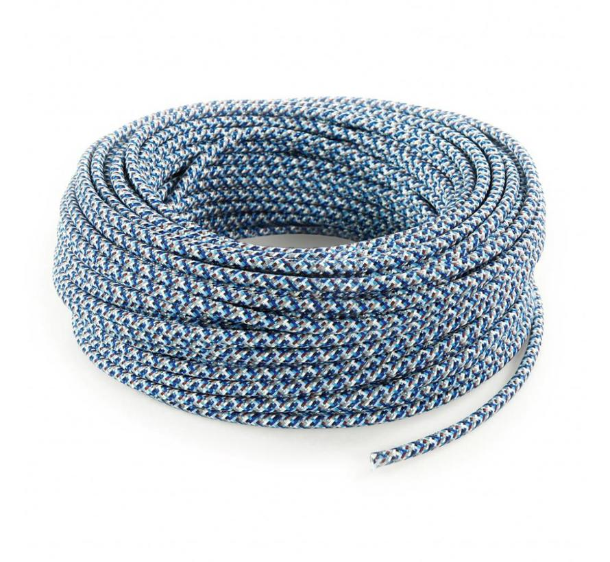 Fabric Cord Blue - round - pixelated pattern