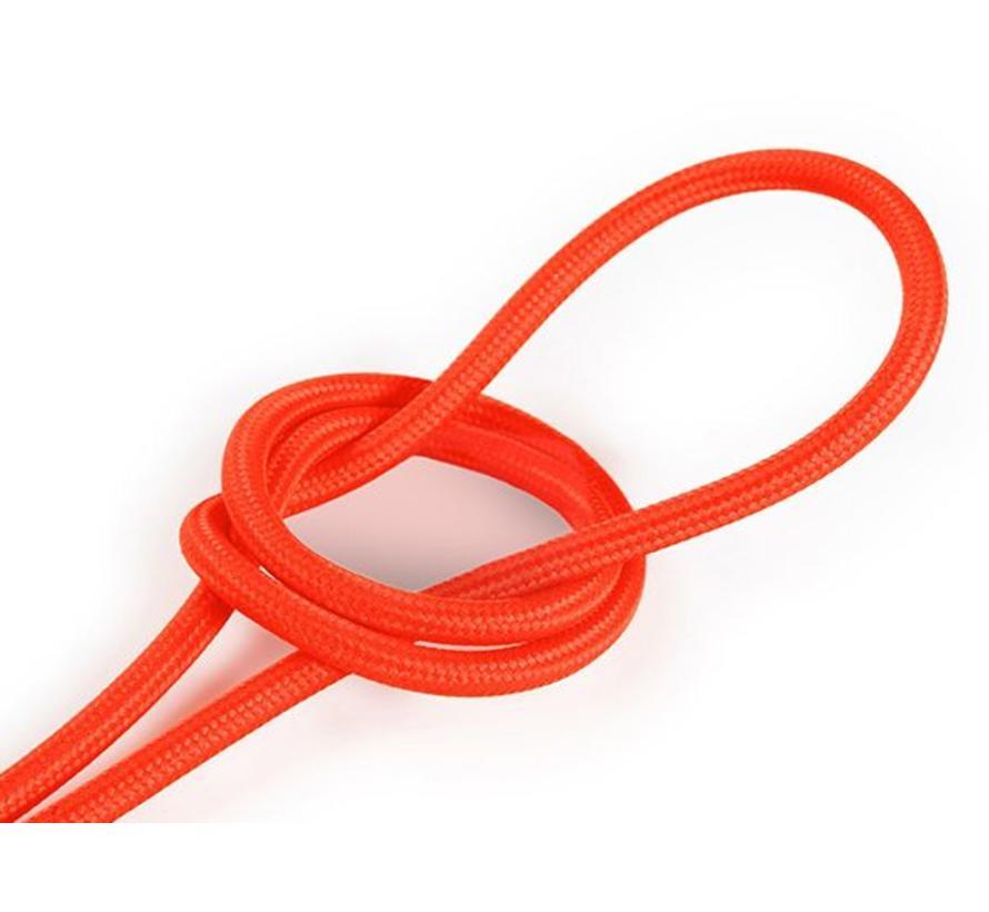 Textilkabel Fluo Orange - rund, einfarbiger Stoff