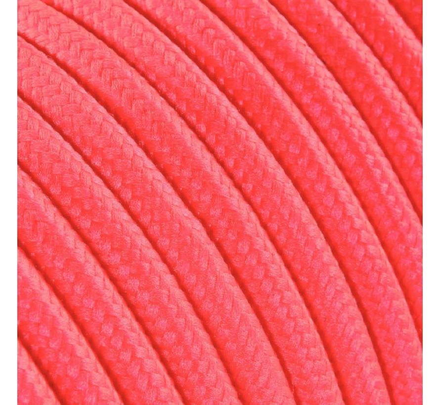 Strijkijzersnoer Fluor roze - rond, effen stof