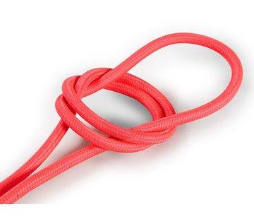 Kynda Light Textilkabel Fluo Rosa - rund, einfarbiger Stoff