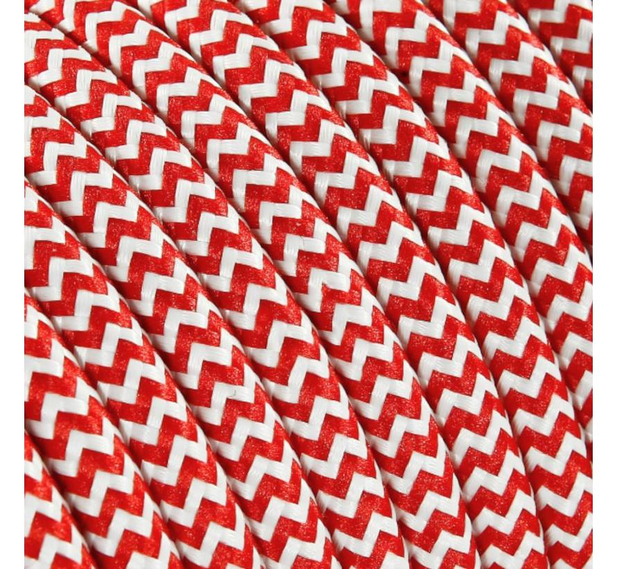 Textilkabel Weiß & Rot - rund | Zick-Zack Muster