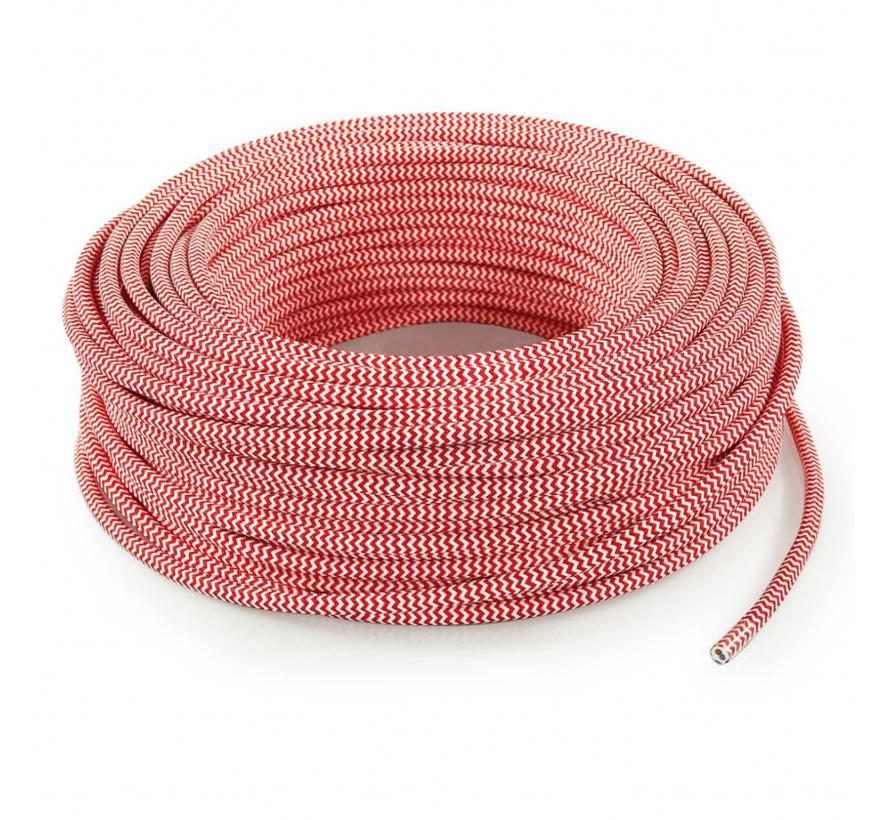 Fabric Cord White & Red - round - zigzag pattern
