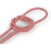 Kynda Light Fabric Cord White & Red - round - zigzag pattern