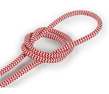 Kynda Light Textilkabel Weiß & Rot - rund | Zick-Zack Muster