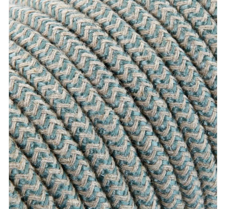 Textilkabel Sand & Salbei - rund, leinen | Zick-Zack Muster
