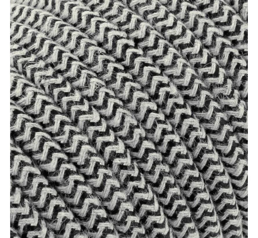 Strijkijzersnoer Zand & Zwart - rond linnen - zigzag patroon