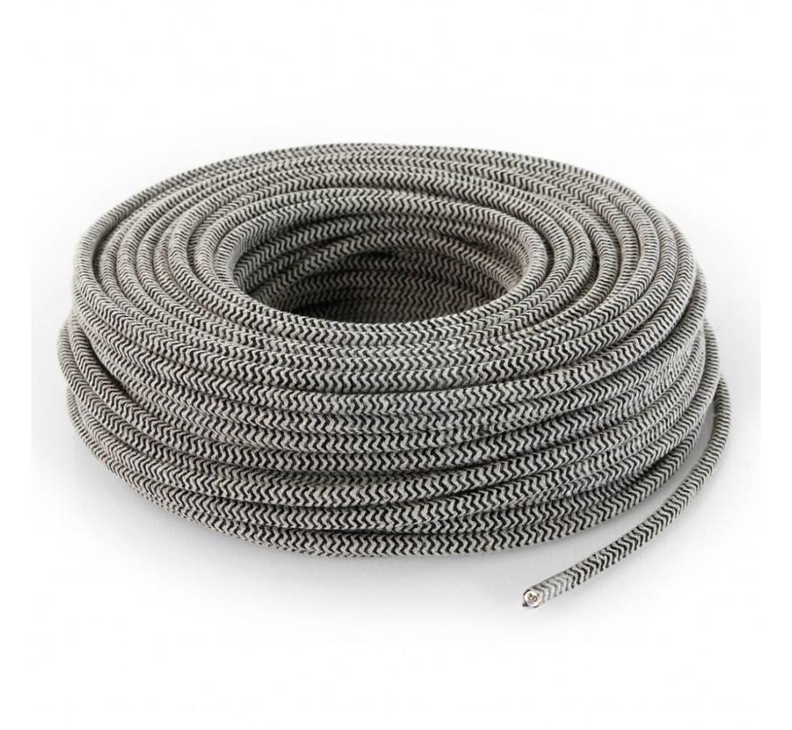 Textilkabel Sand & Schwarz - rund, leinen | Zick-Zack Muster