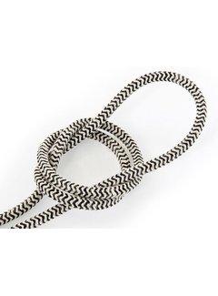 Kynda Light Fabric Cord Sand & Black - round linen - zigzag pattern
