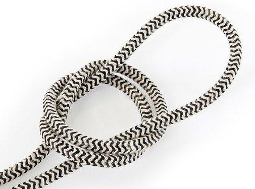 Kynda Light Fabric Cord Sand & Black - round, linen