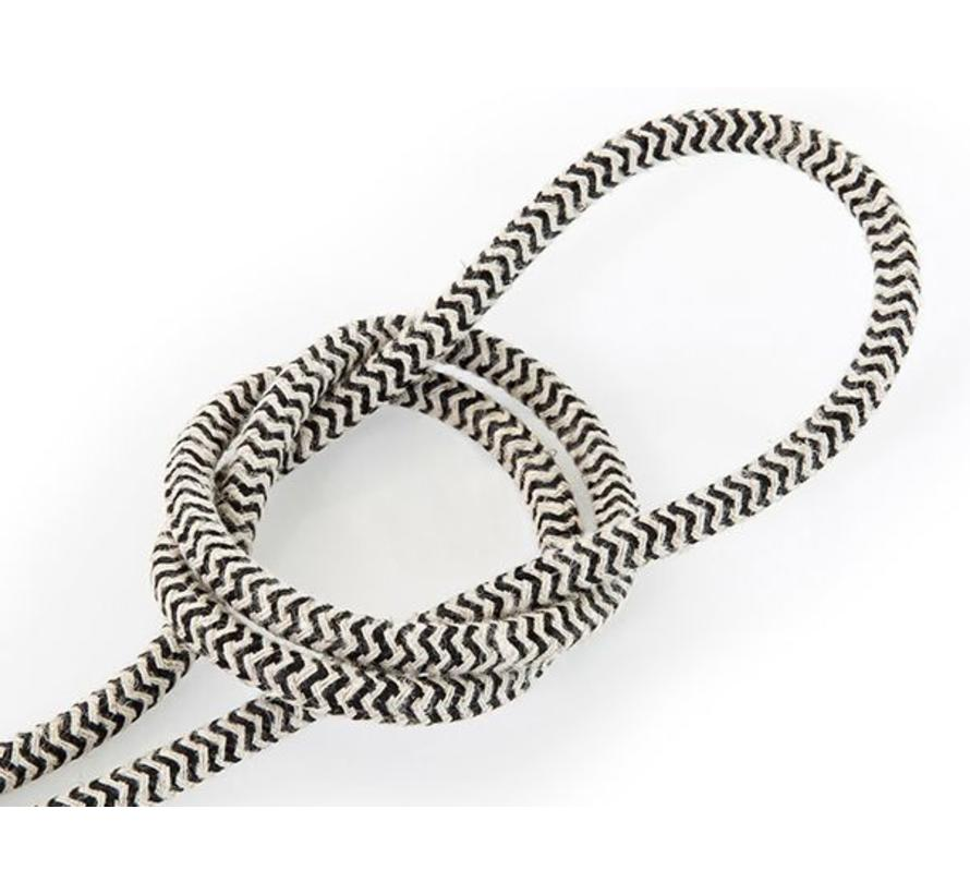 Fabric Cord Sand & Black - round linen - zigzag pattern