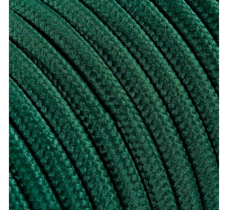 Strijkijzersnoer Donkergroen - rond, effen stof
