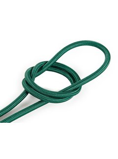 Kynda Light Fabric Cord Dark Green - round, solid