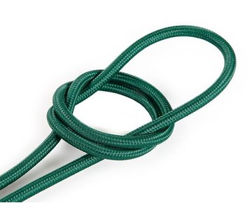 Kynda Light Fabric Cord Dark Green - round, solid