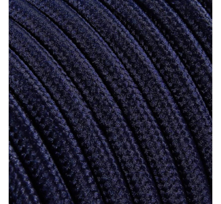 Strijkijzersnoer Donkerblauw - rond, effen stof