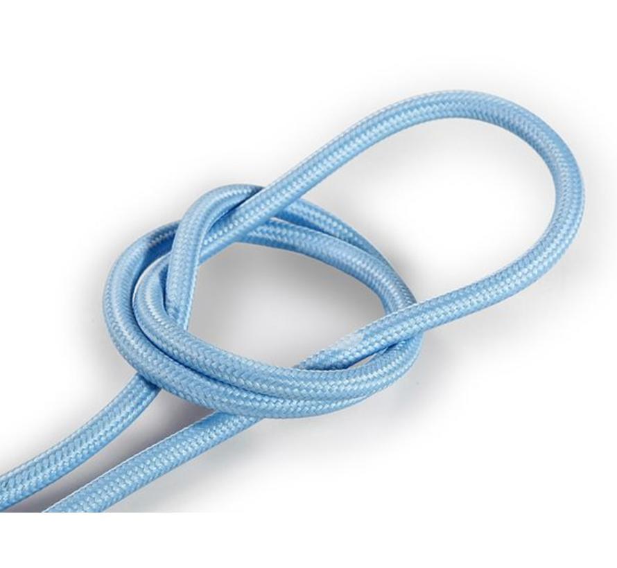 Textilkabel Hellblau - rund, einfarbiger Stoff