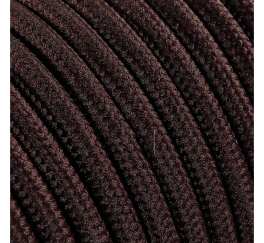 Textilkabel Braun - rund, einfarbiger Stoff