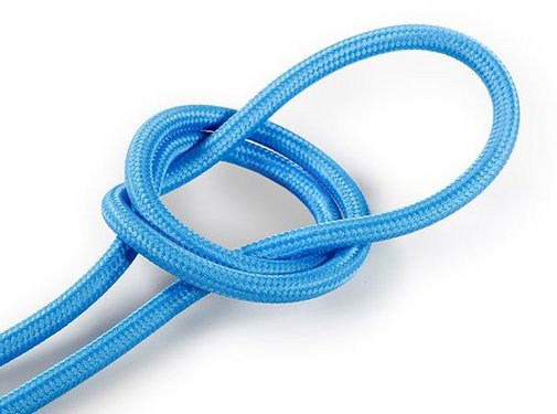 Kynda Light Fabric Cord Bright Blue - round, solid
