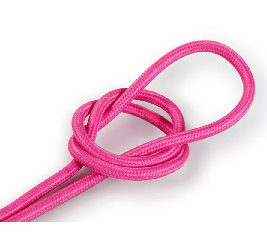 Textilkabel Rosa - rund, einfarbiger Stoff