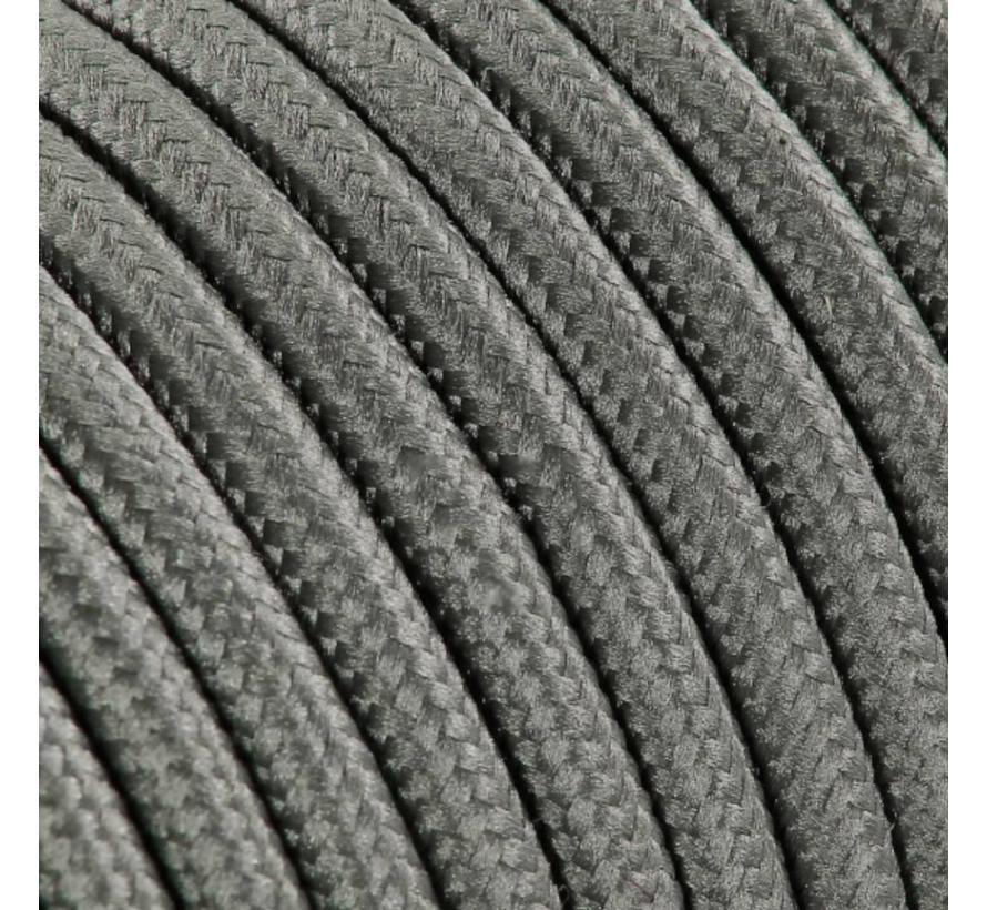 Textilkabel Grau - rund, einfarbiger Stoff