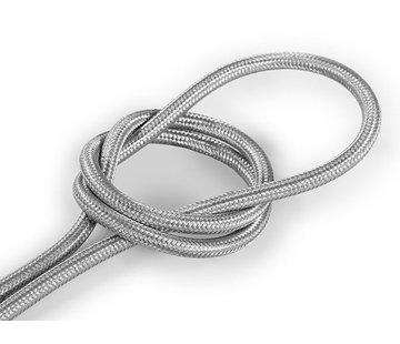 Kynda Light Textilkabel Silber - rund, einfarbiger Stoff