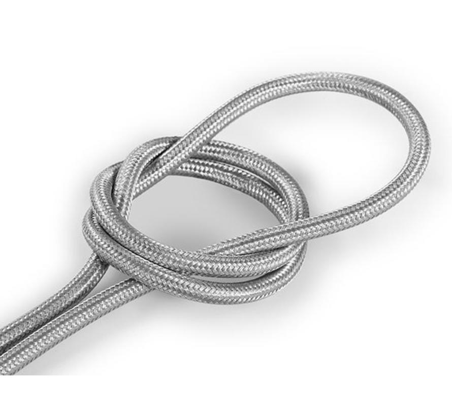 Textilkabel Silber - rund, einfarbiger Stoff