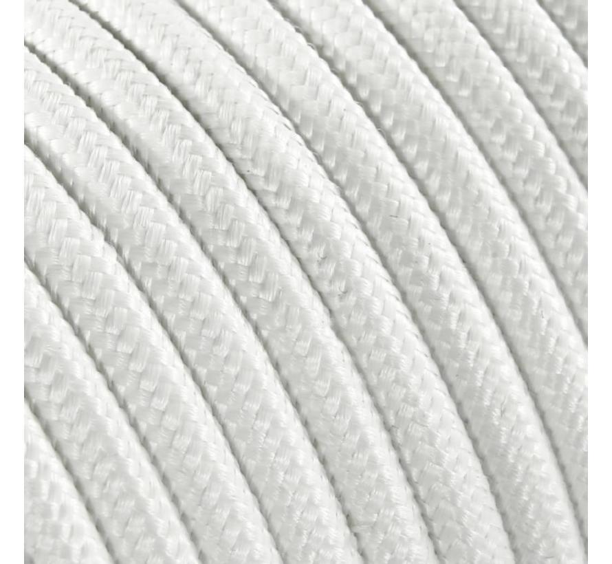 Textilkabel Weiß - rund, einfarbiger Stoff