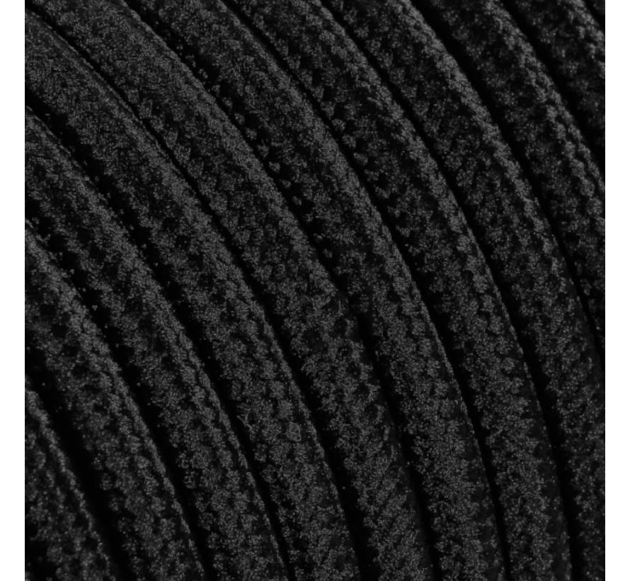 Textilkabel Schwarz - rund, einfarbiger Stoff