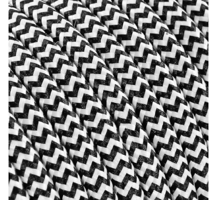 Strijkijzersnoer Zwart & Wit - rond - zigzag patroon