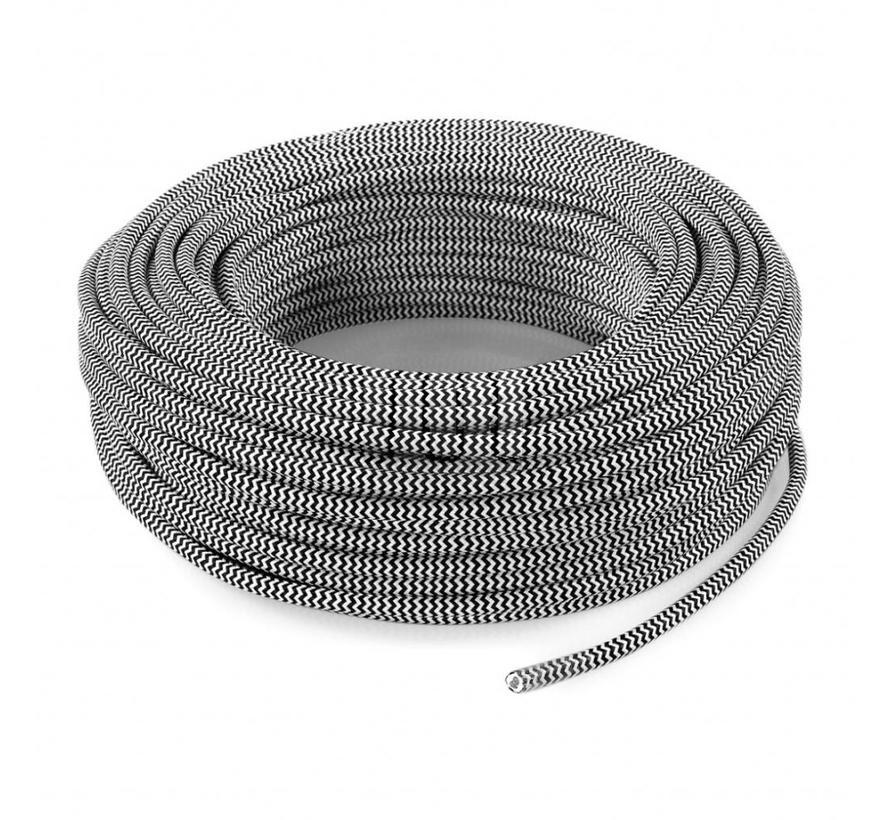 Fabric Cord White & Black - round - zigzag pattern