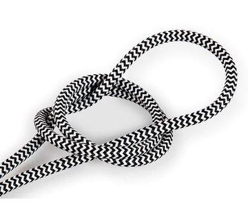 Kynda Light Fabric Cord White & Black - round, solid