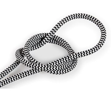 Kynda Light Fabric Cord White & Black - round - zigzag pattern
