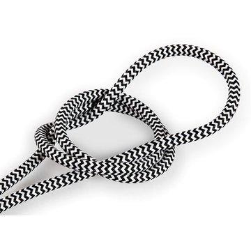 Kynda Light Fabric Cord White & Black - round - zigzag pattern