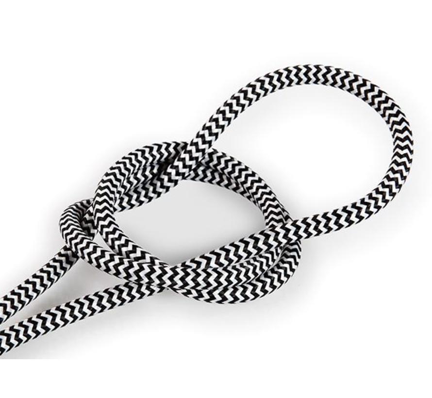 Textilkabel Schwarz & Weiß - rund   Zick-Zack Muster