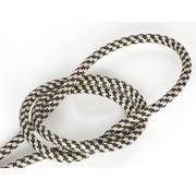 Kynda Light Textilkabel Schwarz & Sand - rund, leinen | Kreuz Muster